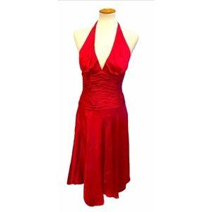 Stunning Red Silk Halter Midi Length Caché Dress